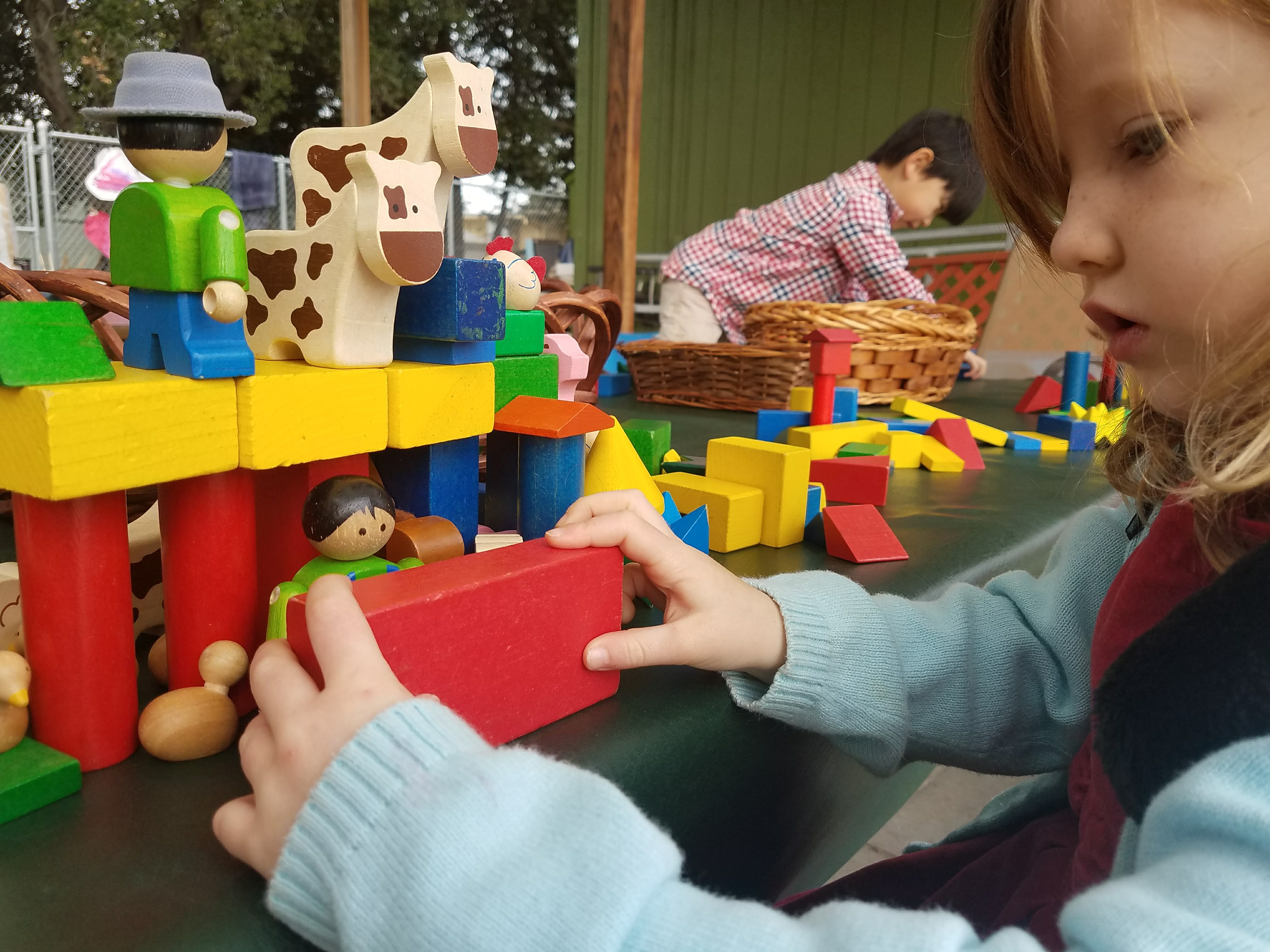 child lego play